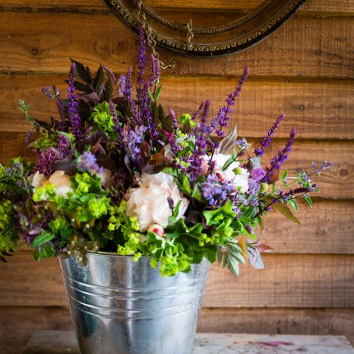 photograph of a bucket of cut flowers that are available in our online shop
