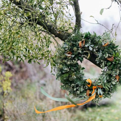 Fizzy Orange Christmas Wreath by Babylon Flowers florist Watlington
