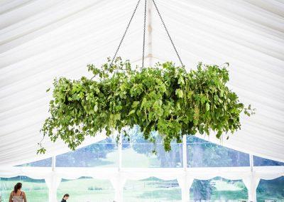 Hanging Basket display at Wedding Reception